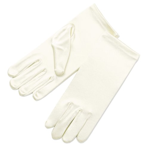 ZaZa Bridal Girl's Fancy Stretch Satin Dress Gloves Wrist Length 2BL-Girl's Size X-Small (0-3 yrs)/Ivory
