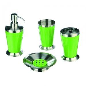 Set de 4 accessoires pour salle de bain zen tendance - Inox - Vert ...