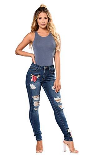 Rasgado Lápiz Pantalones Alta La Ropa De Agujero Mezclilla Vaqueros Las Cintura Azul Adelina Bordado Flor Mujeres BpCqA6wwx