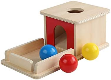 Adena Montessori Object Permanence Box with Tray Three Balls Montesori Toys for 6-12 Month Infant 1 Year Babies Toddlers