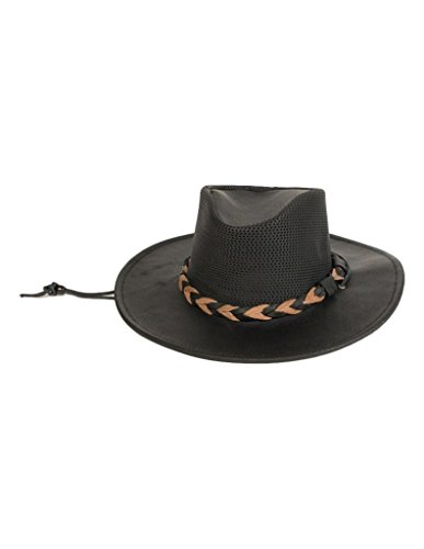 (Minnetonka Men's Leather Outback Hat Black Large)