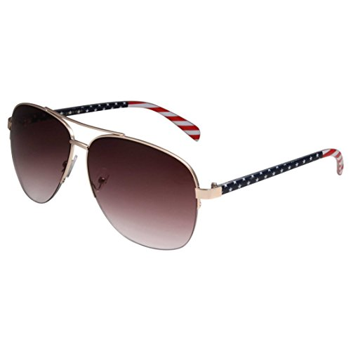 grinderPUNCH - XL USA American Patriot Flag Large Aviator Style Sunglasses Gold Gradient