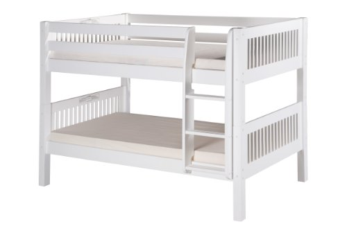Camaflexi Mission Style Solid Wood Low Bunk Bed, Twin-Over-Twin, Side Attached Ladder, White
