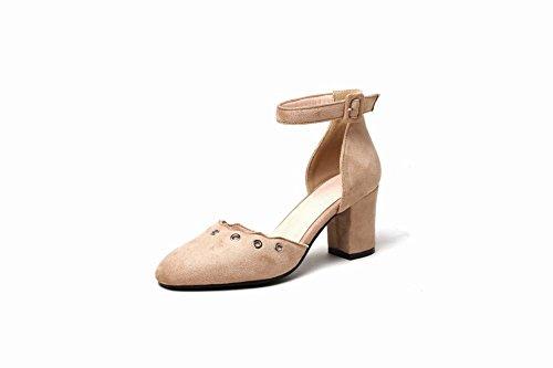 MissSaSa Damen Ankle-Strap Blockabsatz vierkant Spitze Pumps Beige