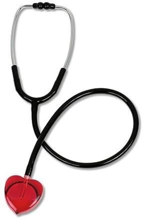 Prestige Medical S107-H-RED - Estetoscopio con sonido claro, color negro y corazón rojo