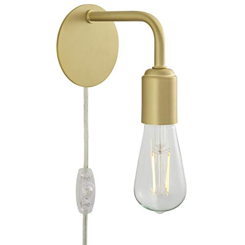 - Trasso Industrial Plug in Wall Sconce | Satin Brass Bedroom Wall Lights with LED Bulb LL-WL112-3SB