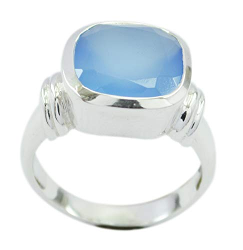 Jaipur 925 Sterling Silver Captivating Natural Blue Ring, Chalcedony Blue Stone Silver Ring from RIYO