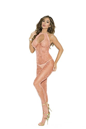 Peach Scroll - Zabeanco Scroll Pattern Fishnet Bodystocking With Keyhole Front and An Open Crotch(One Size, Peach)