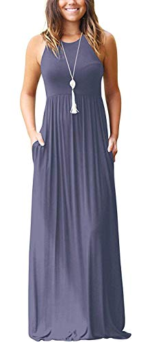 - PCEAIIH Women's Sleeveless Racerback Loose Plain Maxi Dresses Casual Long Dresses with Pockets Purple Gray-XS