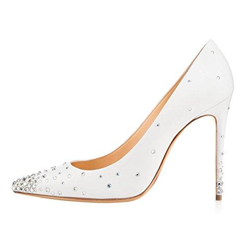 Grandi Donna Pompe Strass Tacchi Personalizzazione Solidi Dimensioni Da Bianco Di Toe Signore Nansay Scarpe Sottolineato Alti HqxYgtnw5f