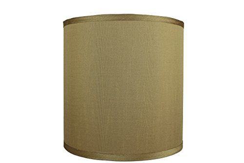 Urbanest Faux Silk Drum Lampshade, 10-inch by 10-inch by 10-inch, Gold, Spider Fitter - Gold Drum Shade