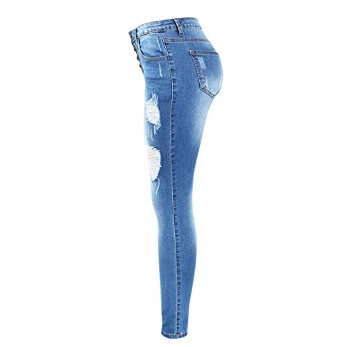 Real Jeans Donna Pantaloni Size Denim Fly Blue Plus Bottone Elastici 4pxwUw