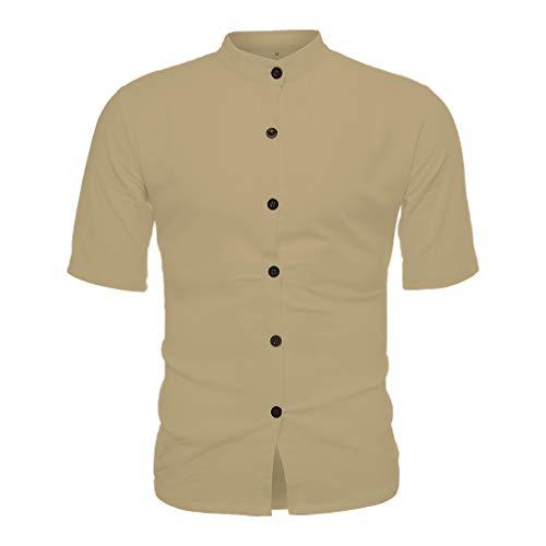PENGY Top Blouse Men's Vintage Pure Color Linen Solid Short Sleeve Retro T Shirts Brown (Studio Brown Collection Jordan)