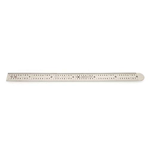 Rigid Steel Rule Zero Glare Ruler Graduation: 5R 32ths, 64ths, 10ths, 100ths Stainless Steel 6'' Machinist Ruler