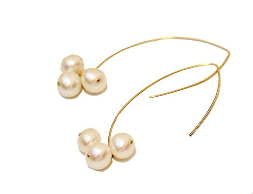 Sonia Hou Angel Earrings, Gold Filled Marquise Drop Dangle Earrings (Freshwater Pearl)