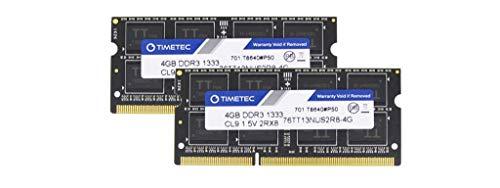 Timetec Hynix IC 8GB Kit (2x4GB) DDR3 1333MHz PC3-10600 Unbuffered Non-ECC 1.5V CL9 2Rx8 Dual Rank 204 Pin SODIMM Laptop…