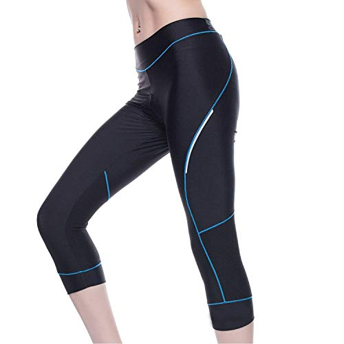 4ucycling Women Premium 3D Padded Breathable ¾ Cycling Tights (Black & Blue Line, US Size 2XL)