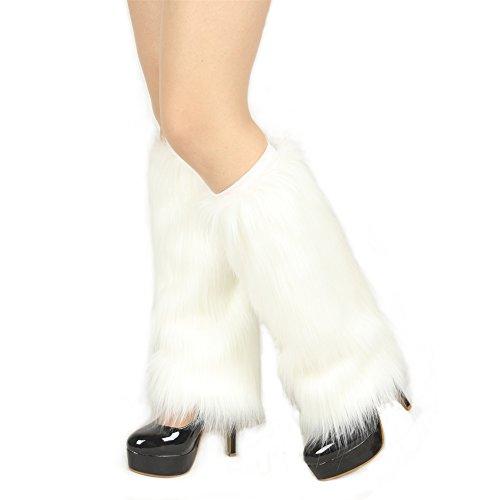 Ibeauti Womens Furry Leg Warmers Super Soft Rainbow Boots Shoes Cuffs Covers (Medium: Length: 15.4