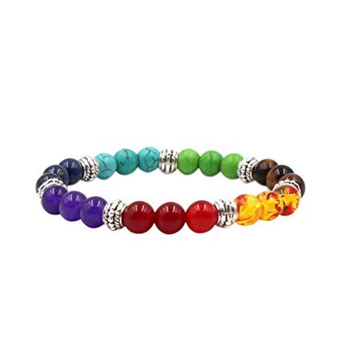 Bangles Natural (Elogoog Men Women 7 Chakras Beads Bracelet Lava Rock Bracelets Natural Stone Yoga Bracelet Bangle 8MM (White B))