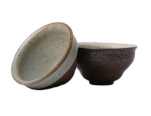 Globe Faith Eco-friendly Handmade Ceramic Healthy Tea Cups, Pottery Vintage-chic and Rustic Design, Rich Texture of Quality Stoneware Mugs, Variable Brown & Turquoise Glaze, Good for Gifts, Set of 2