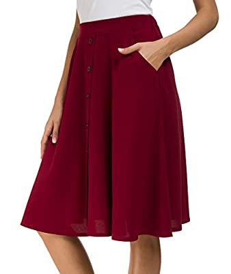 Afibi Women's High Waisted A Line Pleated Midi Skirt Button Front Skirts with Pocket