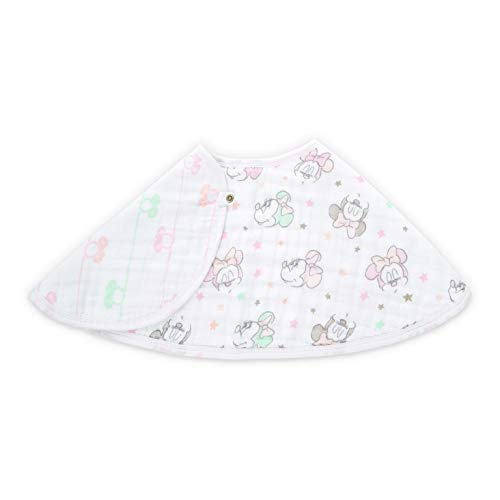 aden by aden + anais Disney Burpy Bib; 100% Cotton Muslin; Soft Absorbent 4 Layers; Multi-Use Burp Cloth and Bib; 22.5'' X 11''; Single; minnie bubble-stars ()