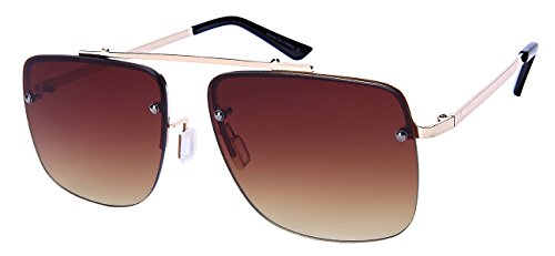 Edge I-Wear Retro Inspired Square Brow Bar Sunglasses w/Flat Lens - Flat Sunglasses Brow Men
