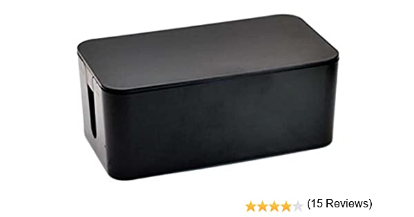 Tosnail Caja de cables, 41 * 16 * 13 cm con pies de goma, negra ...