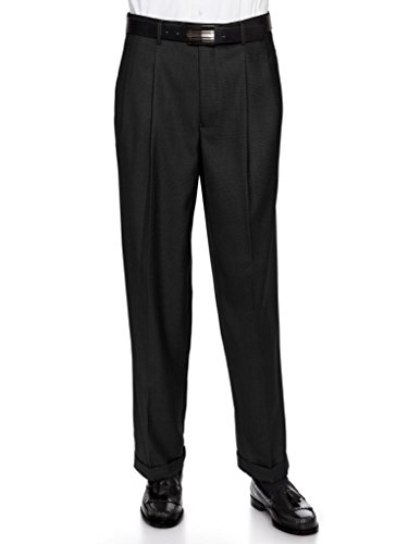 Giovanni Uomo Mens Pleate Front Traditional Fit Dress Pant  Black 30 Medium Wool Zip Fly Trousers