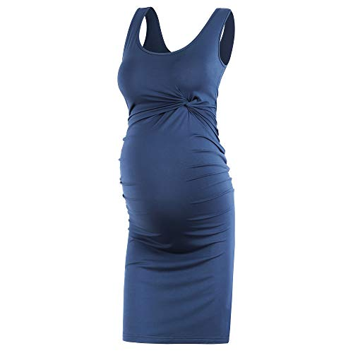 Qunisy Women's Sleeveless Maternity Dress Tank Twist Bodycon Casual Pregnancy Clothing