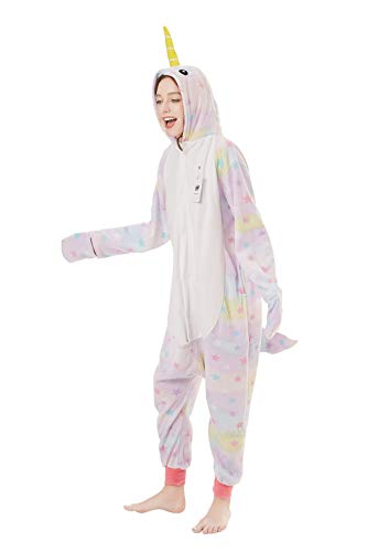 Foresightrade Adults and Children Animal Narwhal Unicorn Cosplay Costume Pajamas Onesies Sleepwear (120# fits for Child Height 128-148cm, Narwhal Star -