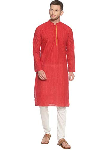 PAROKSH nagari Cotton red dot Long Ethnic Kurta