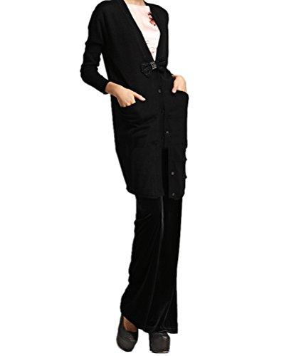 WanYang Mujeres Verano Casual Pantalones de Cintura Mujer Cintura Alta Pantalón Gamuza Negro