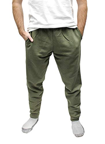 Fruit of the Loom Men's Elastic Bottom Sweatpant, Olive Green, Large