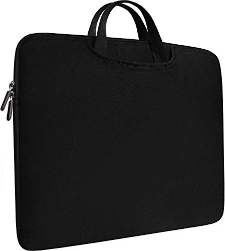 (Laptop Sleeve Bag 15.6 Inch, Durable Slim Briefcase Handle Bag & with Two Extra Pockets,Notebook Computer Protective Case for Computer Notebook Ultrabook,Collapsible Carrying Handles (Black))