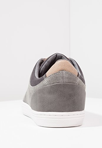 Pier One Men's Suede Sneakers In Two-Tone Grey or Blue - Low Top Trainers In Canvas and Distressed Leather - Casual Canvas Pumps For Men Grey discounts free shipping outlet locations many kinds of sale online eEKOG