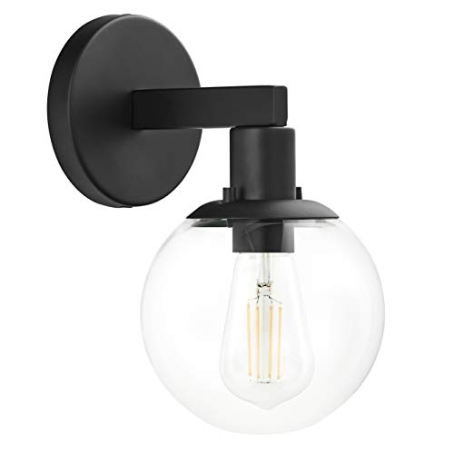 Sferra LED Industrial Wall Sconce - Black w/Clear Glass Globe - Linea di Liara LL-SC225-BLK