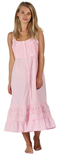 The 1 for U Ruby 100% Cotton Victorian Sleeveless Nightgown 7 Sizes (Small, Pink)