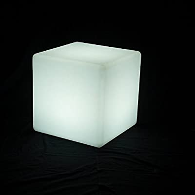 UZO1 Illuminated / Lighted Color Changing Led Cube Furniture W/Remote Control, Large Size (Operates on Both Electric & Rechargeable Batteries for Outdoor use)