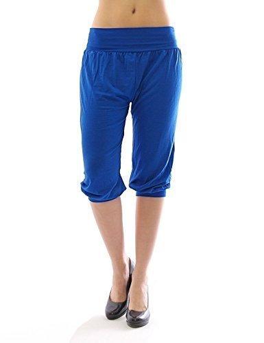 Harem Harems Aladin Pantalon POMPE CAPRI 3/4 haute couleur Leggings Baggy été - Bleu, XXL