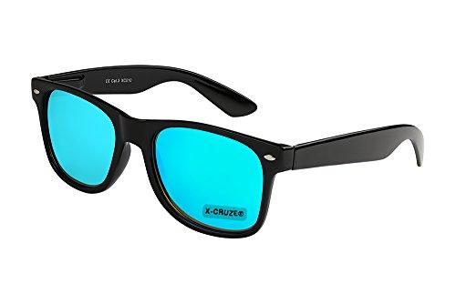 Noir et Lunettes CRUZE® Clair X de Effet Style Vintage Rétro Bleu hommes unisexe Miroir Nerd femmes soleil Pq75dnawx7