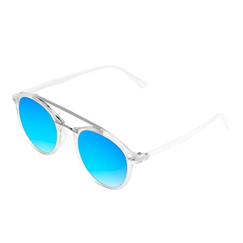 Cramilo E17 Modern Metal Browbar Round P3 Sunglasses (Clear - Blue, - Kardashian Sunglasses Kourtney Small