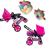 iCoo Convertible Doll Stroller Bassinet 3-in-1 Sturdy Steel Frame + Squishmallow Plush Jaime 16 inch XL Tied dye Unicorn