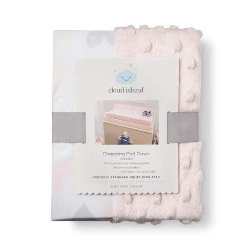 Wipeable Changing Pad Cover with Plush Sides Hearts -Cloud Island153; Pink Pink