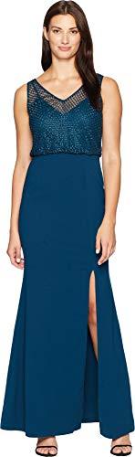 - Adrianna Papell Women's Flutter Sleeve Beaded Formal Dress, Teal Crush, 2