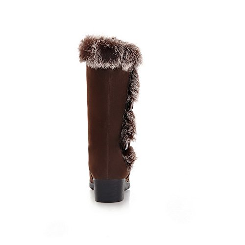 Fur BalaMasa Imitated Thick Boots Color Collar Snow Heel Brown Bottom Matching Womens Leather RwqEAprxR