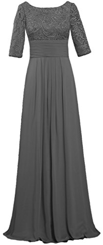Women's Boat Neck Lace Chiffon Dresses Half Sleeve Evening Gown Size 18W US Grey