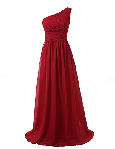 Kiss Dress Women's Long Bridesmaid Dresses One Shoulder Chiffon Evening Gowns (XL, Burgundy)