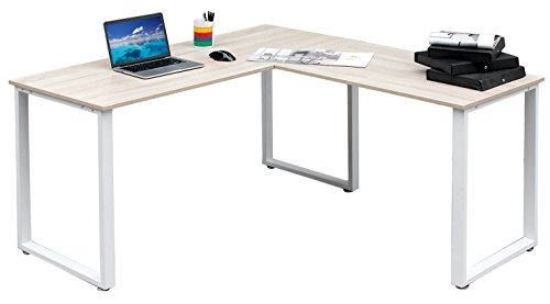 Merax 59-Inch L-Shaped Desk with metal Legs Office Desk Corner Computer Desk PC Laptop Table Workstation, Oak Finish (Corner L-shaped Office Desk)