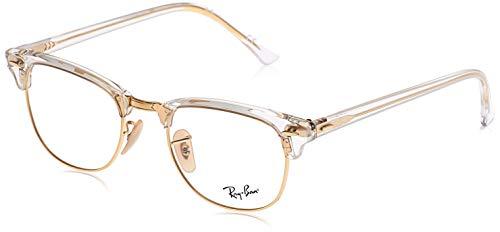 Ray-Ban RX5154 Clubmaster Square Eyeglass Frames, Transparent/Demo Lens, 51 mm (Randlose Eye Glass Frames)